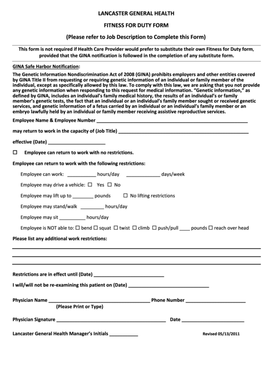 Lancaster General Health Fitness For Duty Form - 2011 printable ...