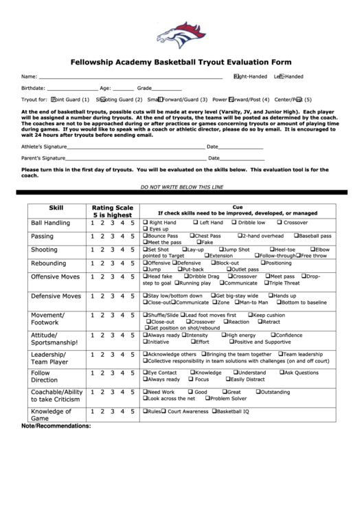 basketball tryout evaluation form