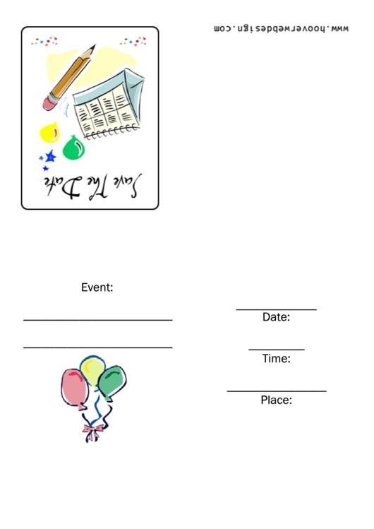 Save The Date Invitation Template Printable pdf
