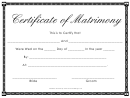 Certificate Of Matrimony Template