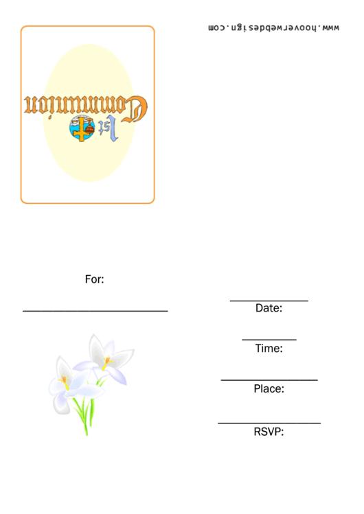 First Communion Invitation Template Printable pdf