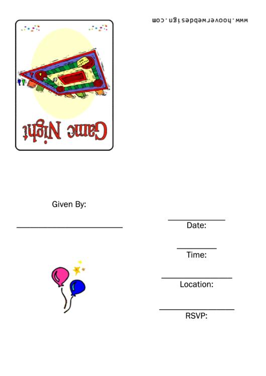 Game Night Invitation Template Printable pdf