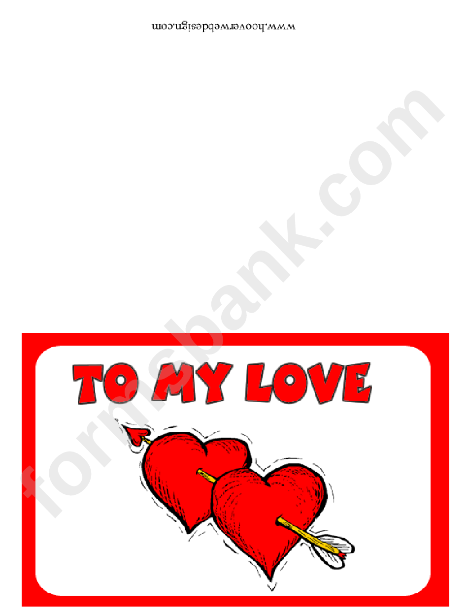 Two Hearts Valentine Card Template
