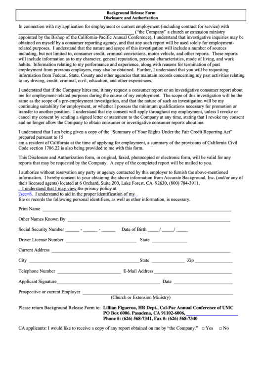 Background check release form disclosure and authorization for General motors criminal background check