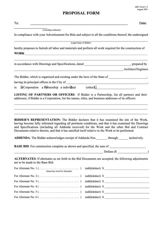 Abc Form C-3 - Proposal Form