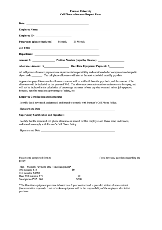 Cell Phone Allowance Request Form Printable pdf