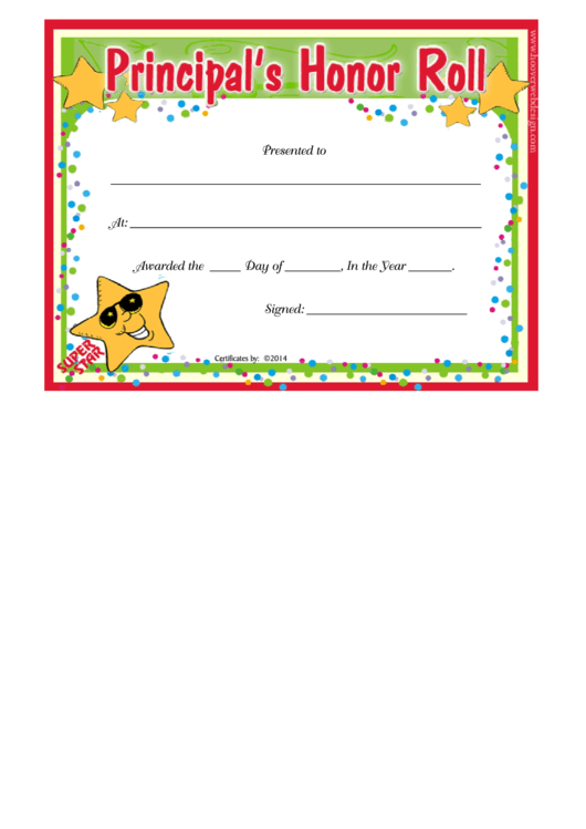 Principals Honor Roll Certificate Template