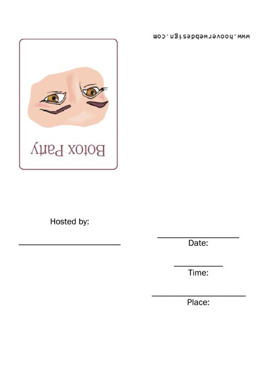 Free Botox Party Invitation Template Printable pdf