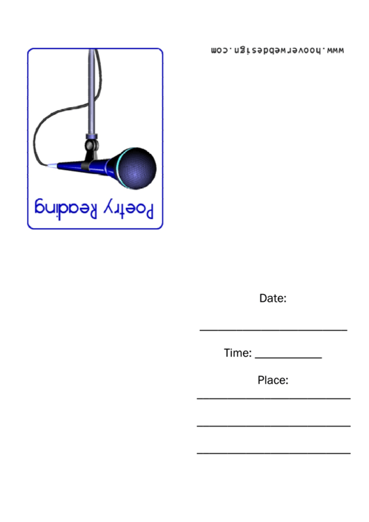 Blue Microphone Poetry Reading Invitation Template Printable pdf