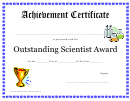 Outstanding Scientist Childrens Award Certificate Template