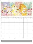 Teddy Bears Blank Monthly Calendar Template