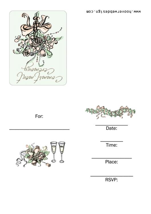 Commitment Ceremony Invitation Template Printable pdf