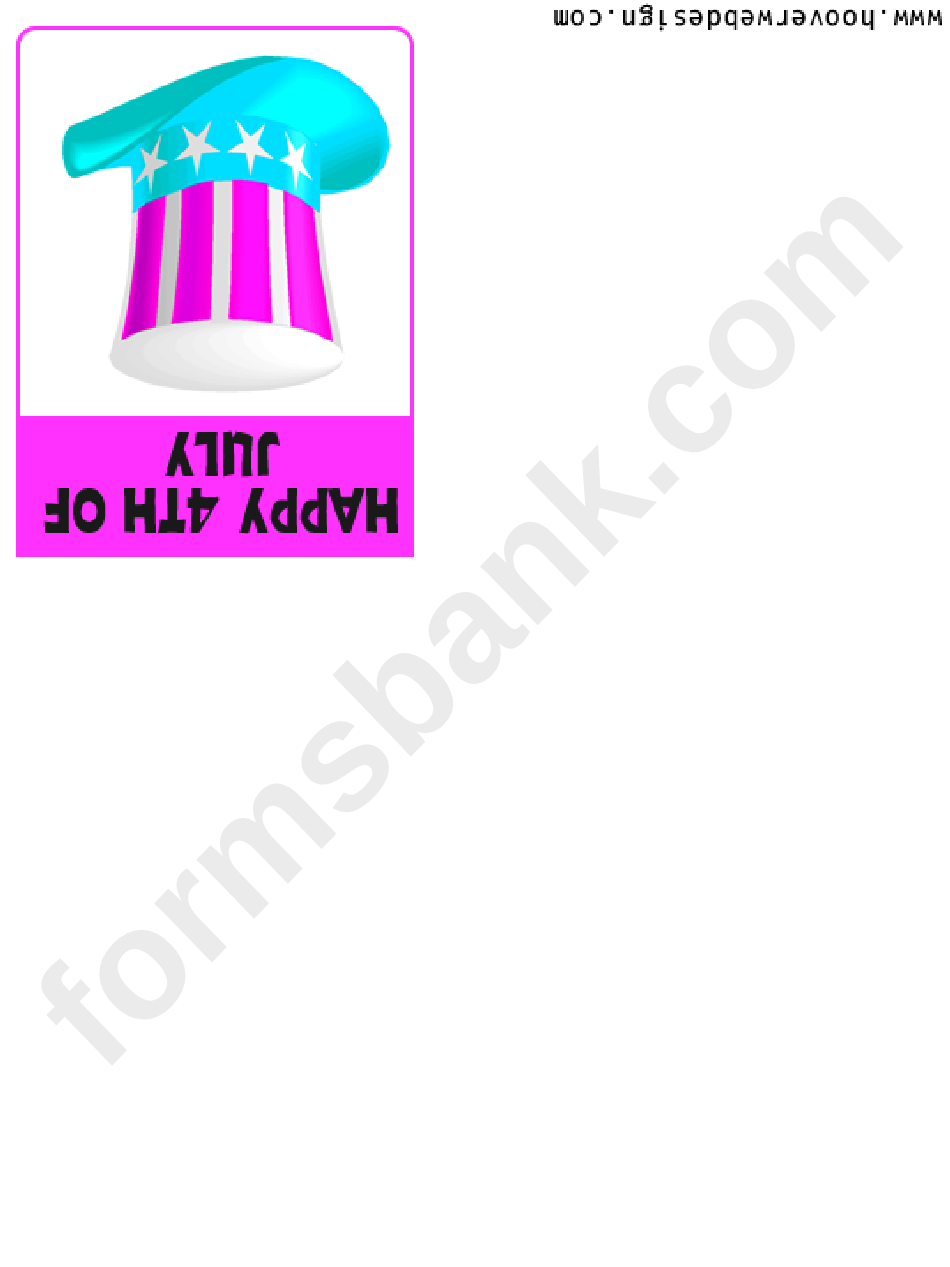 4th Of July Greeting Card Hat Template