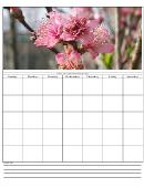 Pink Flowers Blank Monthly Calendar Template