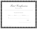 First Confession Certificate Template