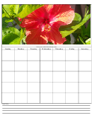 Hibiscus Blank Monthly Calendar Template
