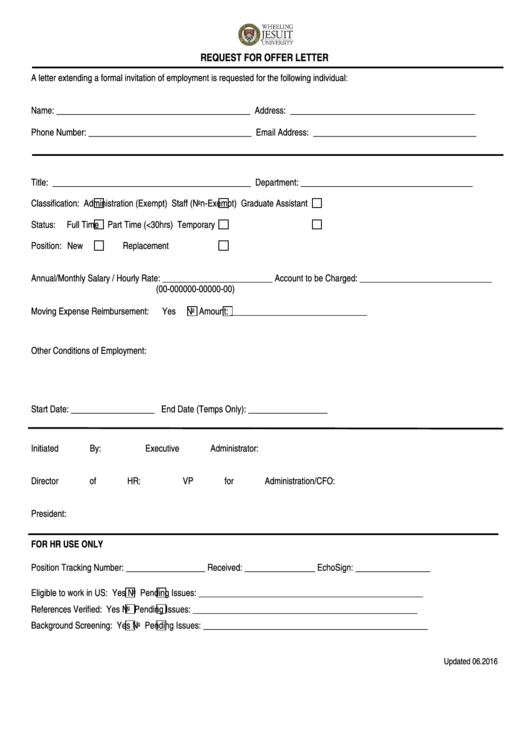 Request For Offer Letter Form