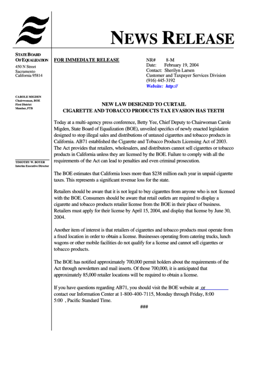 News Release Form California - State Board Of Equalization printable