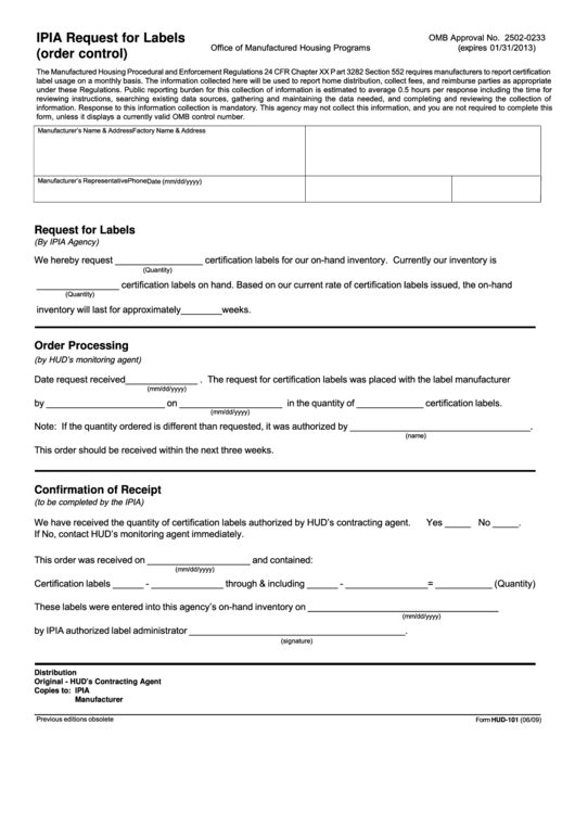 Fillable Form Hud-101 - Ipia Request For Labels (Order Control) - Office Of Manufactured Housing Programs - U.s. Department Of Housing And Urban Development Printable pdf