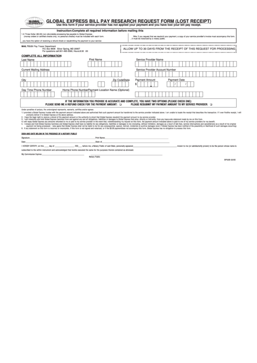 Global Express Bill Pay Research Request Form (Lost Receipt