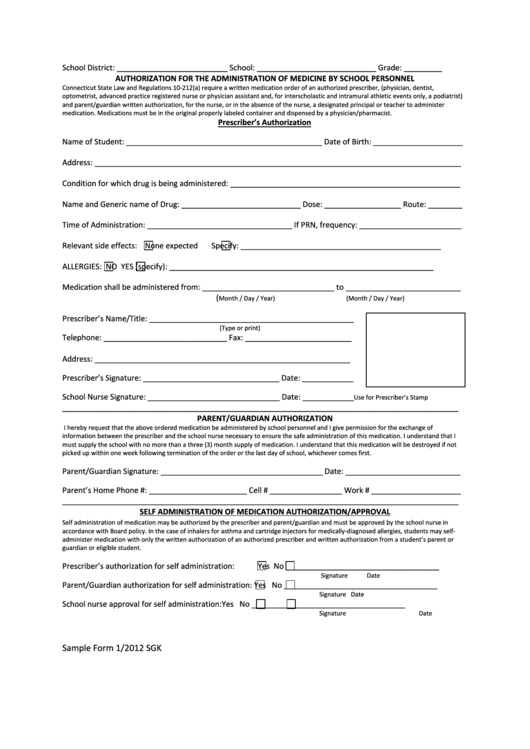 Form 1/2012 Sgk - Authorization For The Administration Of Medicine By School Personnel Printable pdf