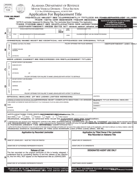 Fillable Form Mvt 12 1 Application For Replacement Title