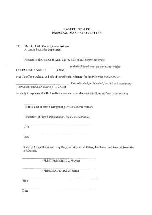 Broker/dealer Principal Designation Letter Form - Arkansas ...