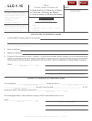 Form Llc-1.15 - Application To Reserve A Name / Transfer Of Reserved Name/ Cancellation Of Reserved Name