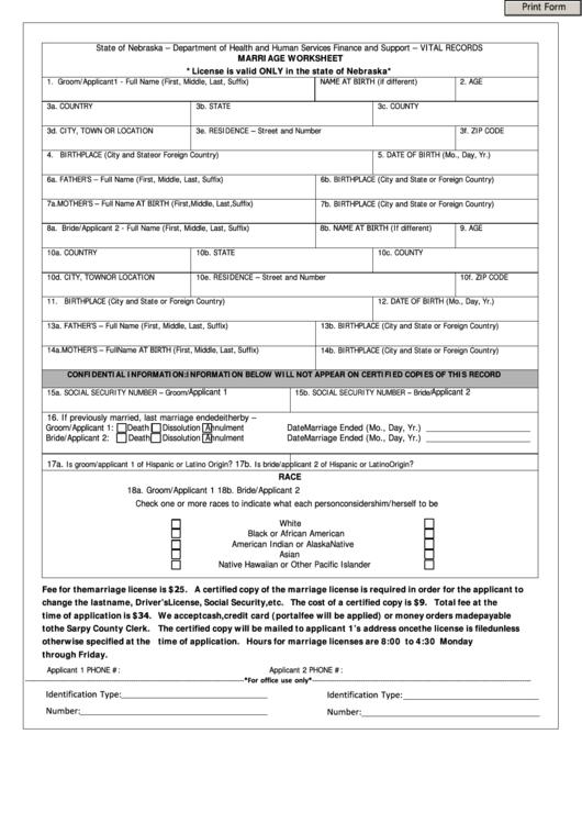 Fillable Marriage Worksheet - State Of Nebraska ...