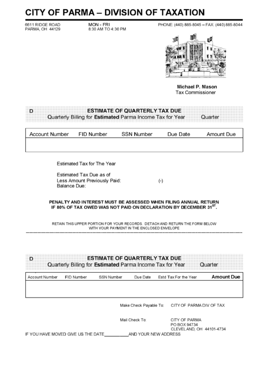 Estimate Of Quarterly Tax Due Form - Division Of Taxation City Of Parma