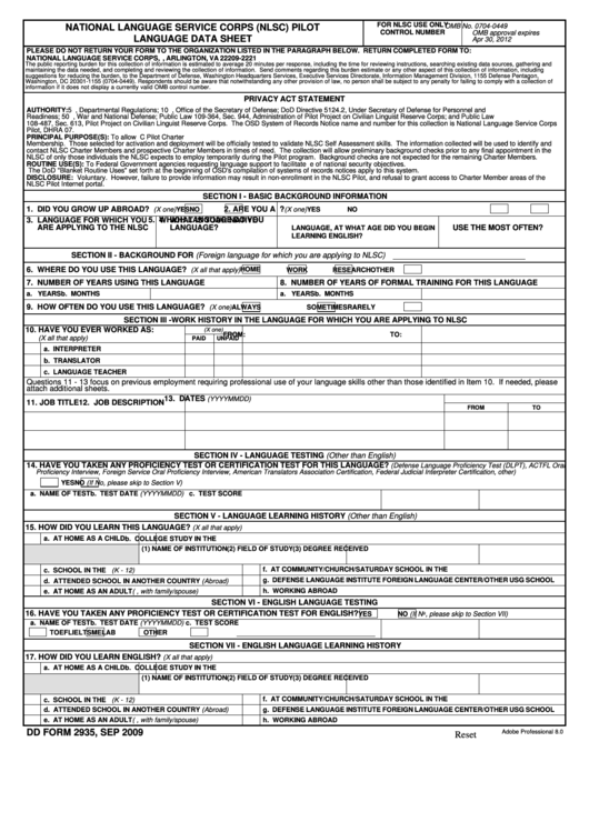 Fillable Dd Form 2935 - National Language Service Corps (Nlsc) Pilot Language Data Sheet - 2009 Printable pdf