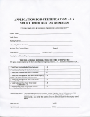 Application For Certification As A Short Term Rental Business