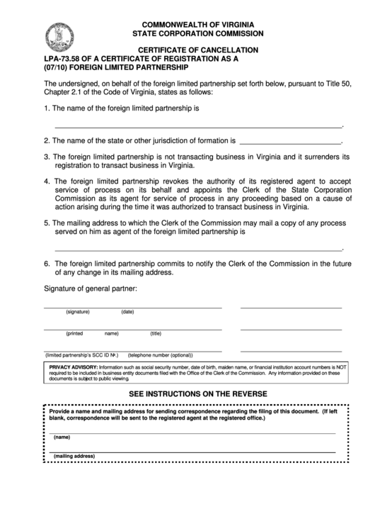 Form Lpa-73.58 - Certificate Of Cancellation Of A Certificate Of Registration As A Foreign Limited Partnership Printable pdf