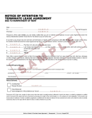 Notice Of Intention To Terminate Lease Agreement Due To Nonpayment Of Rent Form