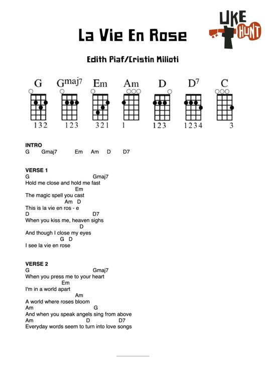 La Vie En Rose Chord Chart printable pdf download