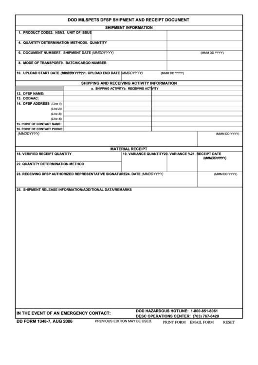 Fillable Form 1348-7 - Dod Milspets Dfsp Shipment And Receipt Document Printable pdf