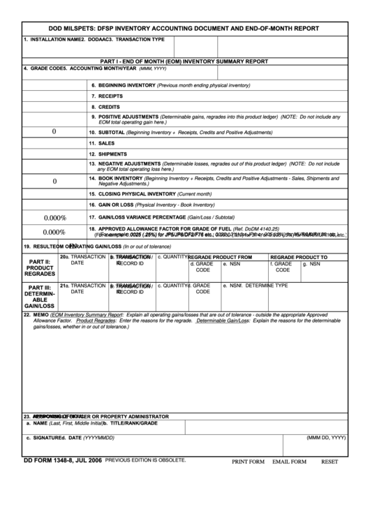 Fillable Form 1348-8 - Dod Milspets: Dfsp Inventory Accounting Document And End-Of-Month Report Printable pdf