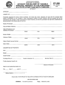 Form St -299 - Affidavit For Delivery Of Tangible Personal Property To The Purchaser In A State Other Than South Carolina