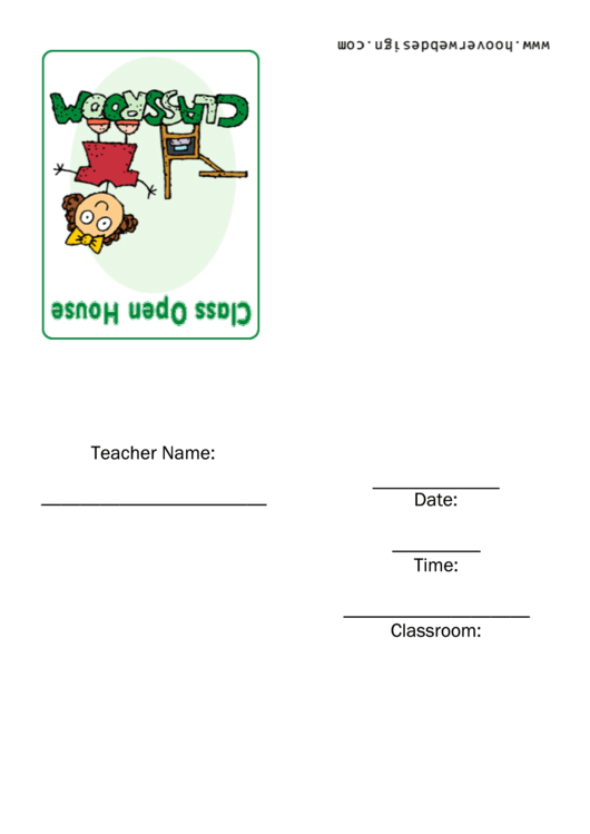 Class Open House Invitation Template Printable pdf