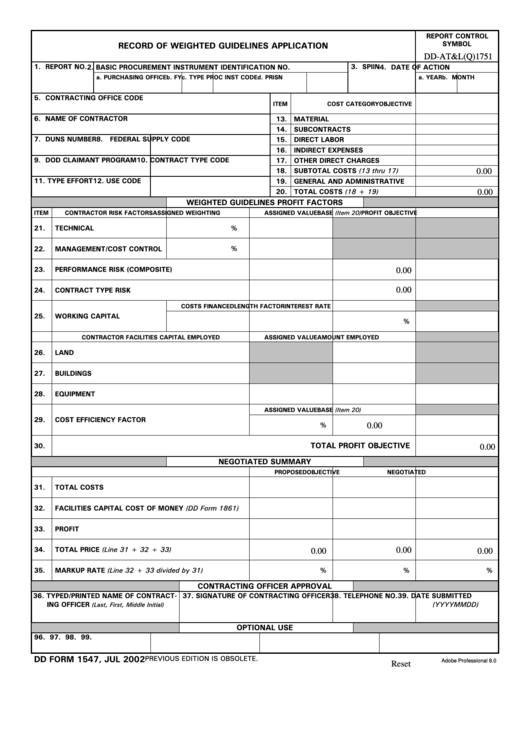 Fillable Dd Form 1547 - Record Of Weighted Guidelines Application Printable pdf