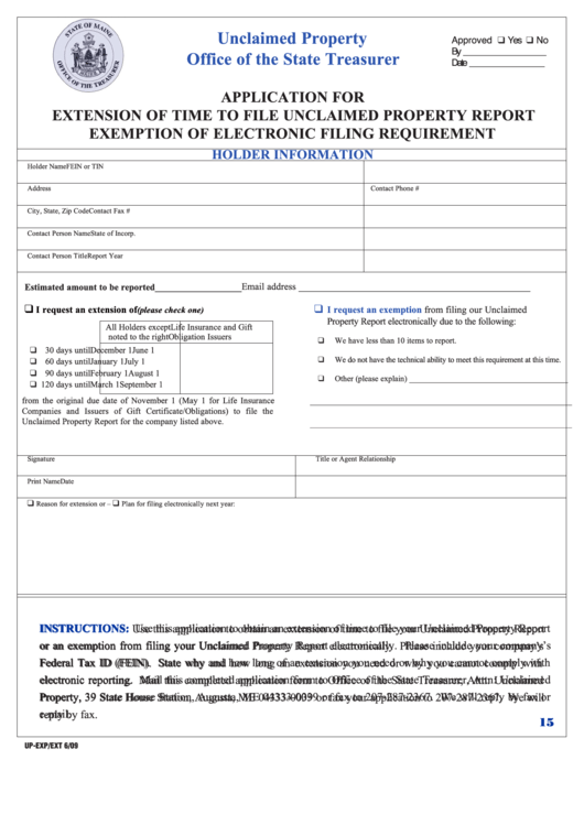 Form Up-Exp/ext - Application For Extension Of Time To File Unclaimed Property Report Exemption Of Electronic Filing Requirement Printable pdf