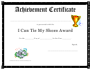 I Can Tie My Shoes Award Achievement Certificate Template