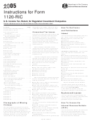 Instructions For Form 1120-ric - U.s. Income Tax Return For Regulated Investment Companies - 2005