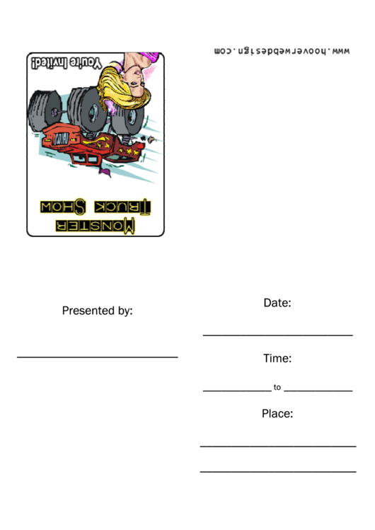 Monster Truck Show Invitation Template Printable pdf