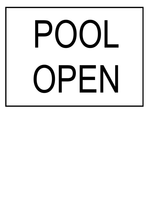 Pool Open Sign Chart