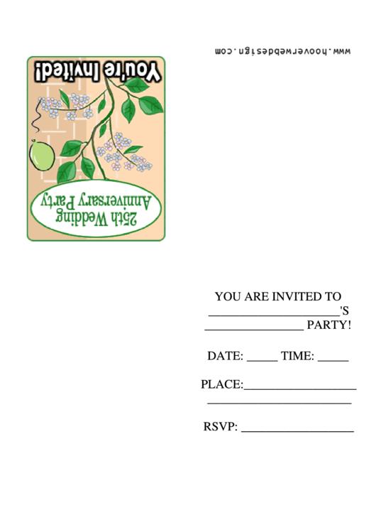 25th Wedding Anniversary Party Invitation Template