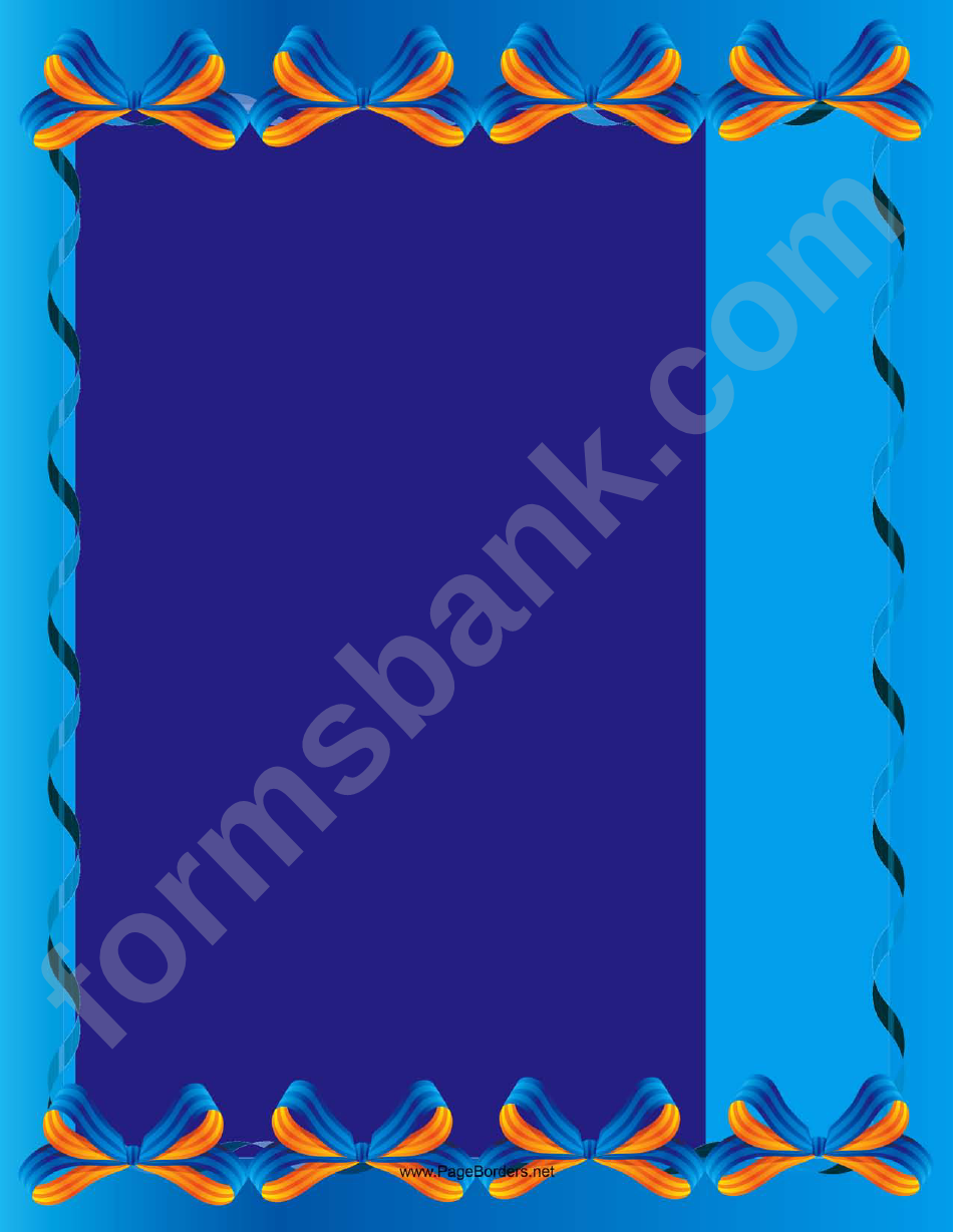 Blue Bows Border Template