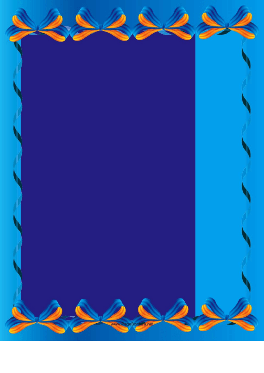 Blue Bows Border Template Printable pdf
