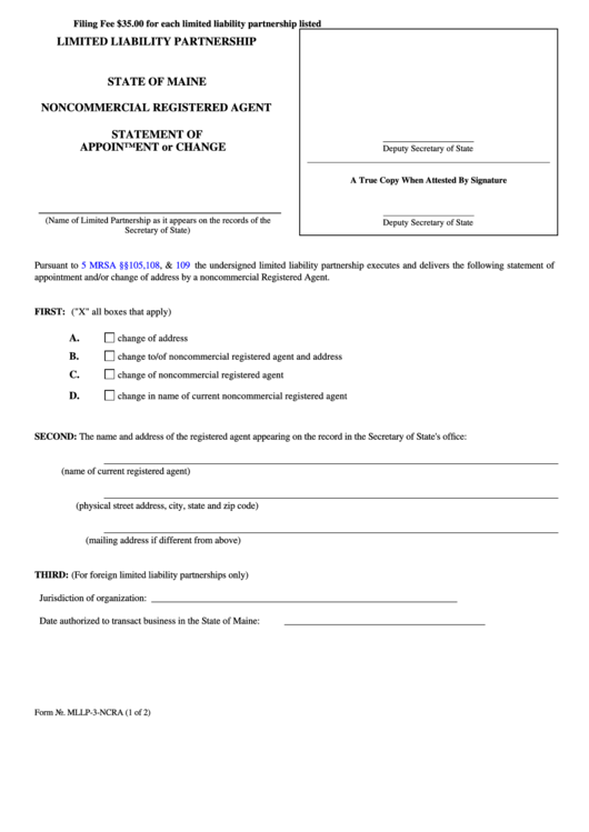 Fillable Form Mllp-3-Ncra - Noncommercial Registered Agent - Statement Of Appointment Or Change - 2008 Printable pdf