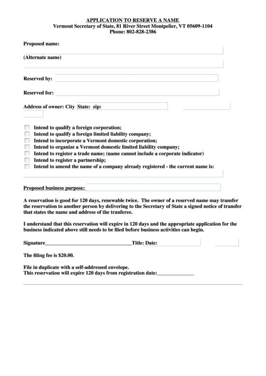 Application To Reserve A Name